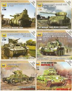 3bd0ef00a4518 1 100 ZVEZDA Tank Panzer M3 Lee Sherman Stuart Mk IV Matilda II US ...