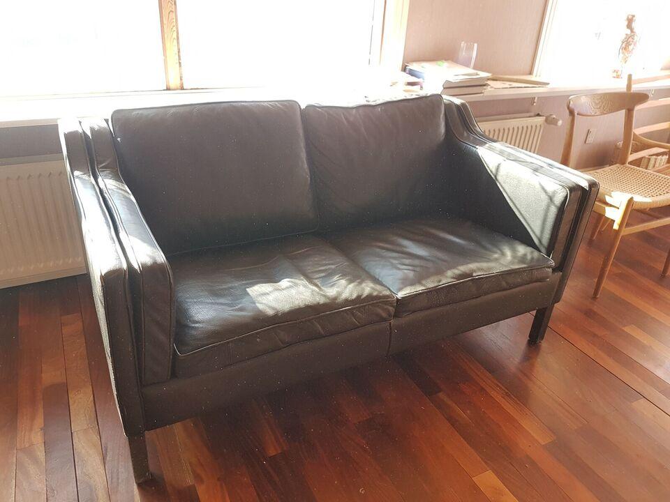 Sofa, læder, Børge Mogensen model B2212 lookalike