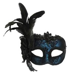 Blue-Side-Feather-Mask-On-Headband-MASQUERADE-EYE-MASK-FANCY-DRESS-US