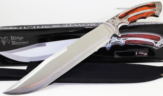Ridge Runner Large Ambassador Hardwood Full Tang Bowie Hunting Skinning Knife