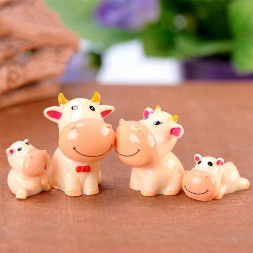 4Pcs//Set Cow Family DIY Miniature Landscape Ornament Garden Bonsai Desktop Decor