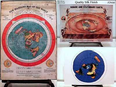 GLEASON/'S WORLD MAP SQUARE /& STATIONARY EARTH 3 Flat Earth Prints AZIMUTH