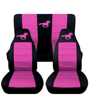 2013-2014 Ford Mustang Coupe Front & Rear Black and Hot Pink Horse Seat Covers
