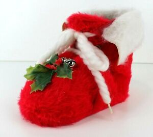 Vintage-Christmas-Holly-Bells-Santa-Boot-Stocking-Candy-Dish-Red-Felt-6in-Tall