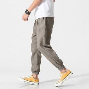 newest 84514 4e83d Dettagli su Uomo Lino harem pantalone con lacci Larga Casual Abbigliamento  Sportivo M-5XL
