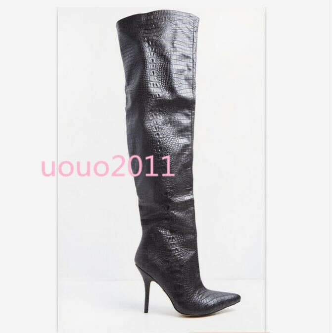 Women's Stiletto Pointy Toe Toe Toe Sexy Over The Knee Thigh High Boots Nightclub shoes ec21e2