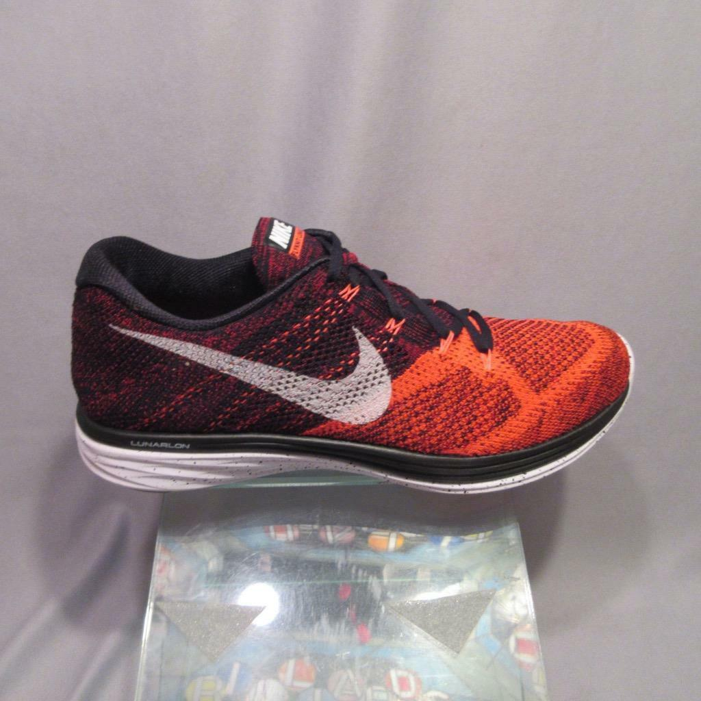Nike Flyknit Lunar 3 698181 006 Black Bright Crimson Mens Nike shoes Size 12