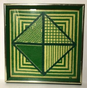 Vintage-Mid-Century-Modern-Geometric-Op-Art-Needlepoint-Textile-Framed-Signed