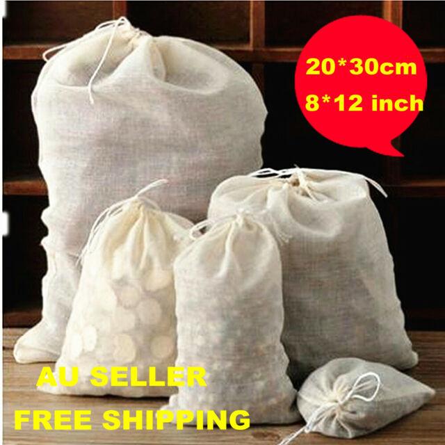 20*30cm ECO Reusable Cotton Muslin Filter Bags spices herbs tea soup drawstring