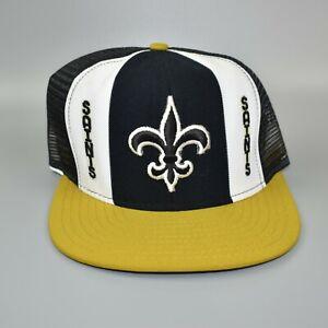 New-Orleans-Saints-AJD-Lucky-Stripes-NFL-Vintage-80-039-s-Trucker-Snapback-Cap-Hat