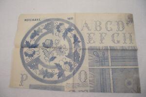 Patron Broderie LE JOURNAL DES DEMOISELLES Nov. 1881 ABCDère 56cm/70cm