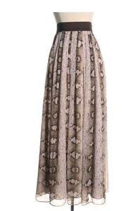 White House Black Market Chiffon Snake Print Lined Maxi Skirt Sz 4 Small $128