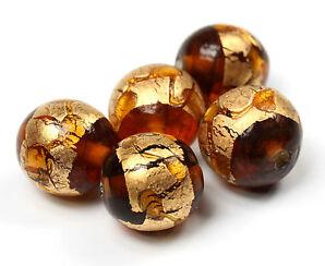 5 Murano-Style Glasperlen mit Blattgold - KAIRO Perlen - große Auswahl Goldfolie