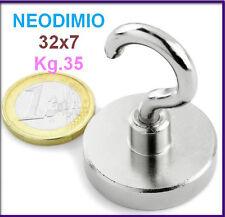 NEODIMIO MAGNETE A GANCIO 32x7 mm 35 KG. CALAMITA CALAMITE MAGNETI