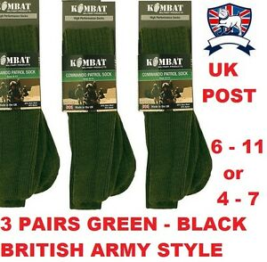 5603094c1f7ae 3X COMMANDO PATROL ARMY SOCKS GREEN BLACK MILITARY CADET BOOT COMBAT ...