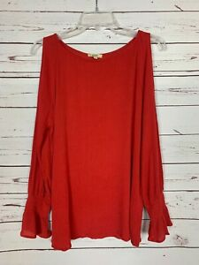 Kori America Boutique Women's S Small Red Spring Cold Shoulder Blouse Shirt Top
