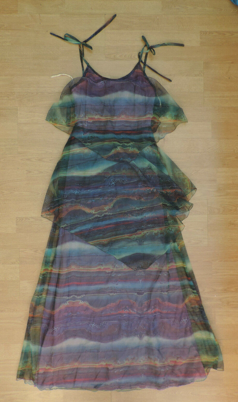 Womens Vtg Domino D Psychedelic Layered Wavy Floaty Summer Breeze Dress I8-A7