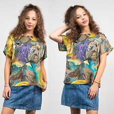WOMENS VINTAGE ABSTRACT PATTERN SCOOP NECK TOP BLOUSE CASUAL RETRO 90'S 80'S 14