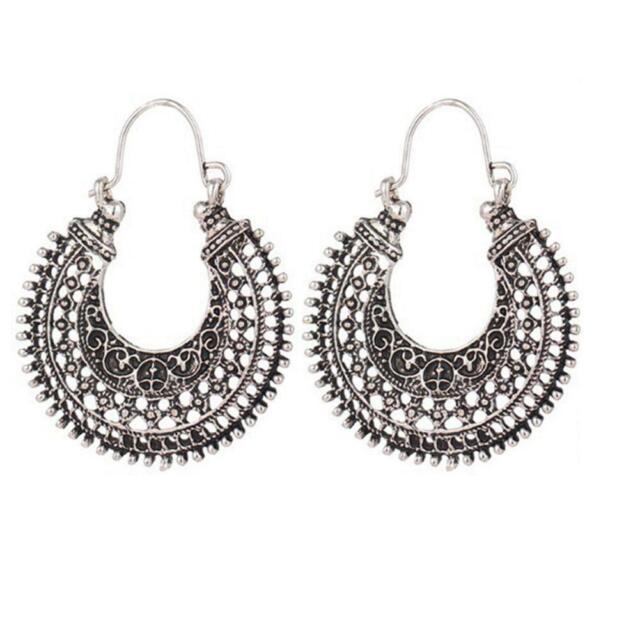 Hoop Earrings Ethnic Tribal Aztec Hippy Boho Dangle Indian Silver Tibetan R B1M9