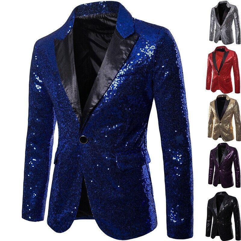 Vogue Men's Sequin Show Blazer Europe Nightclub Solid Coats Emcee One Button New