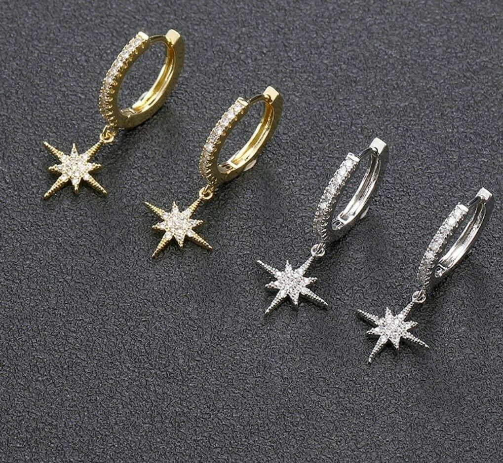 -we❤- SILVER COLOUR Star Hoop cz crystal Earrings High Quality Designer Style