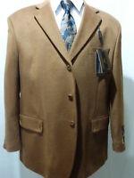 Men's Cashmere/wool, Three Button Sport Coat, Dark Tan, 46l,