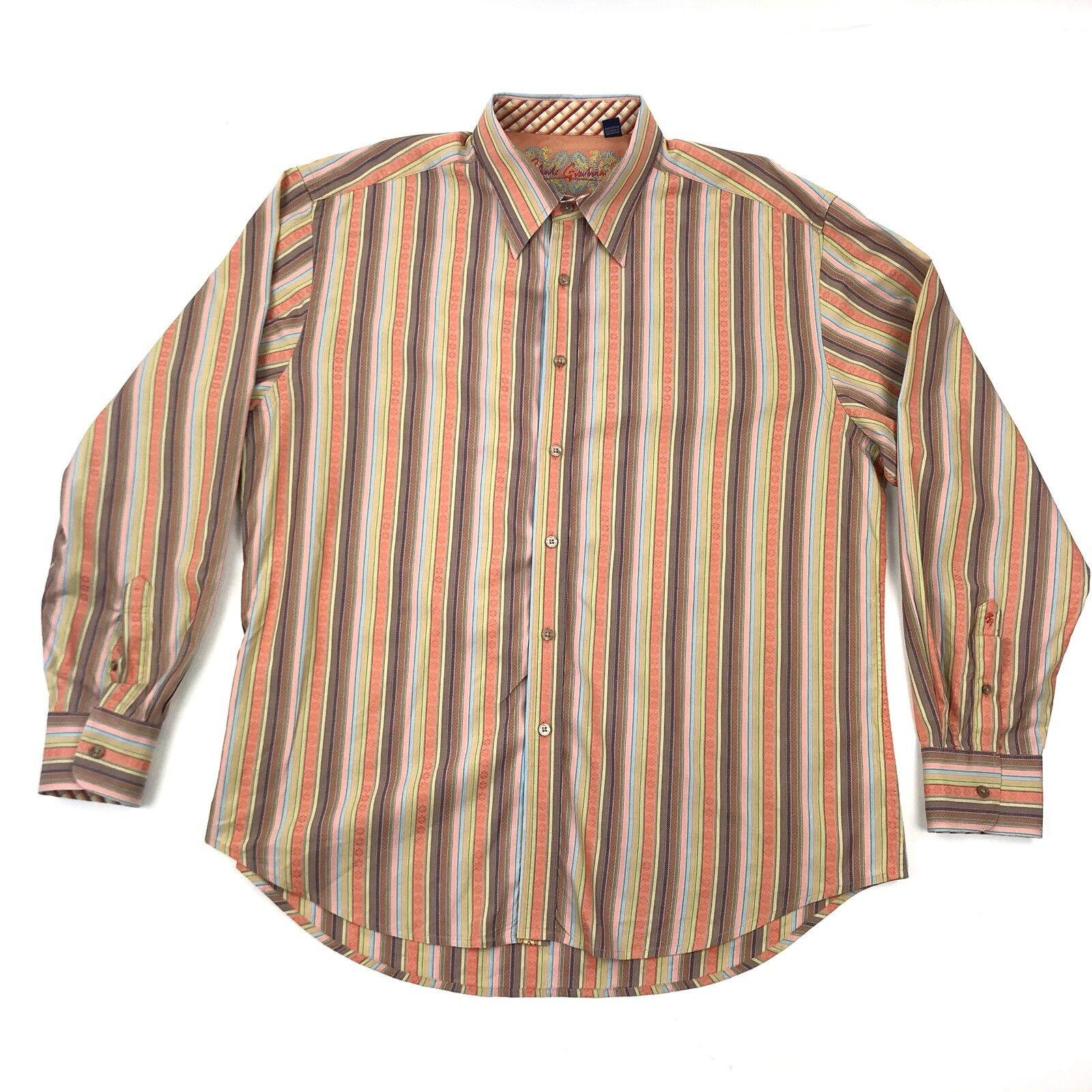 Robert Graham Men's orange Purple Striped colorful Button Down Dress Shirt 2XL