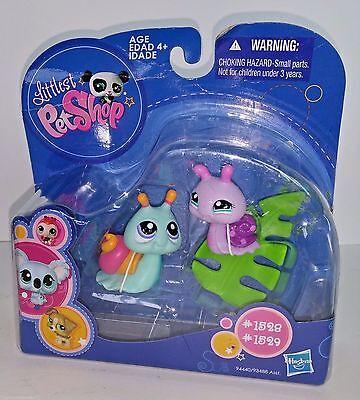 Littlest Pet Shop 1528 Purple Pink Snail 1529 Teal Aqua Snail  LPS New 4+
