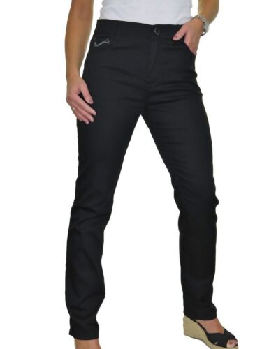 Signore High Rise Gamba Dritta Chino Jeans Argento Stitch 10-20