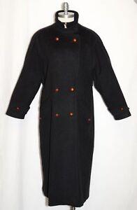 STEINBOCK-Black-BOILED-WOOL-OVER-COAT-Women-HIMALAYA-LODEN-Austria-B50-034-20-XL