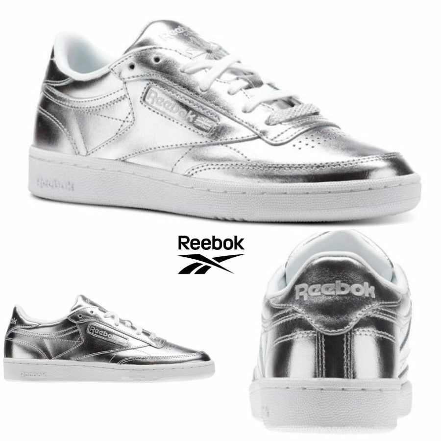 Reebok Classic Club C 85 S Shine Schuhes Sneakers Silver CM8686 SZ 4-12.5