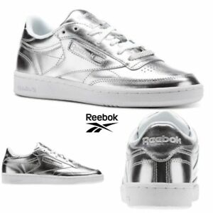 8f14052ee25 Reebok Classic Club C 85 S Shine Shoes Sneakers Silver CM8686 SZ 4 ...