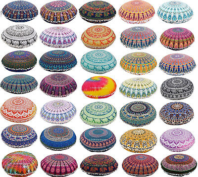 "Indian Mandala Round Floor Cushion Cover 32"" Boho Meditation Pouf Pillow Case"