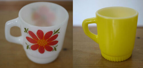 Pair 2 Vintage FIRE KING Anchor Hocking Flower & Yellow DHandle Milk Glass Mugs