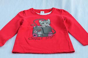 Maedchen-Shirt-Pullover-Pulli-Langarmshirt-116-rot-Katze-Katzenmotiv-C-A