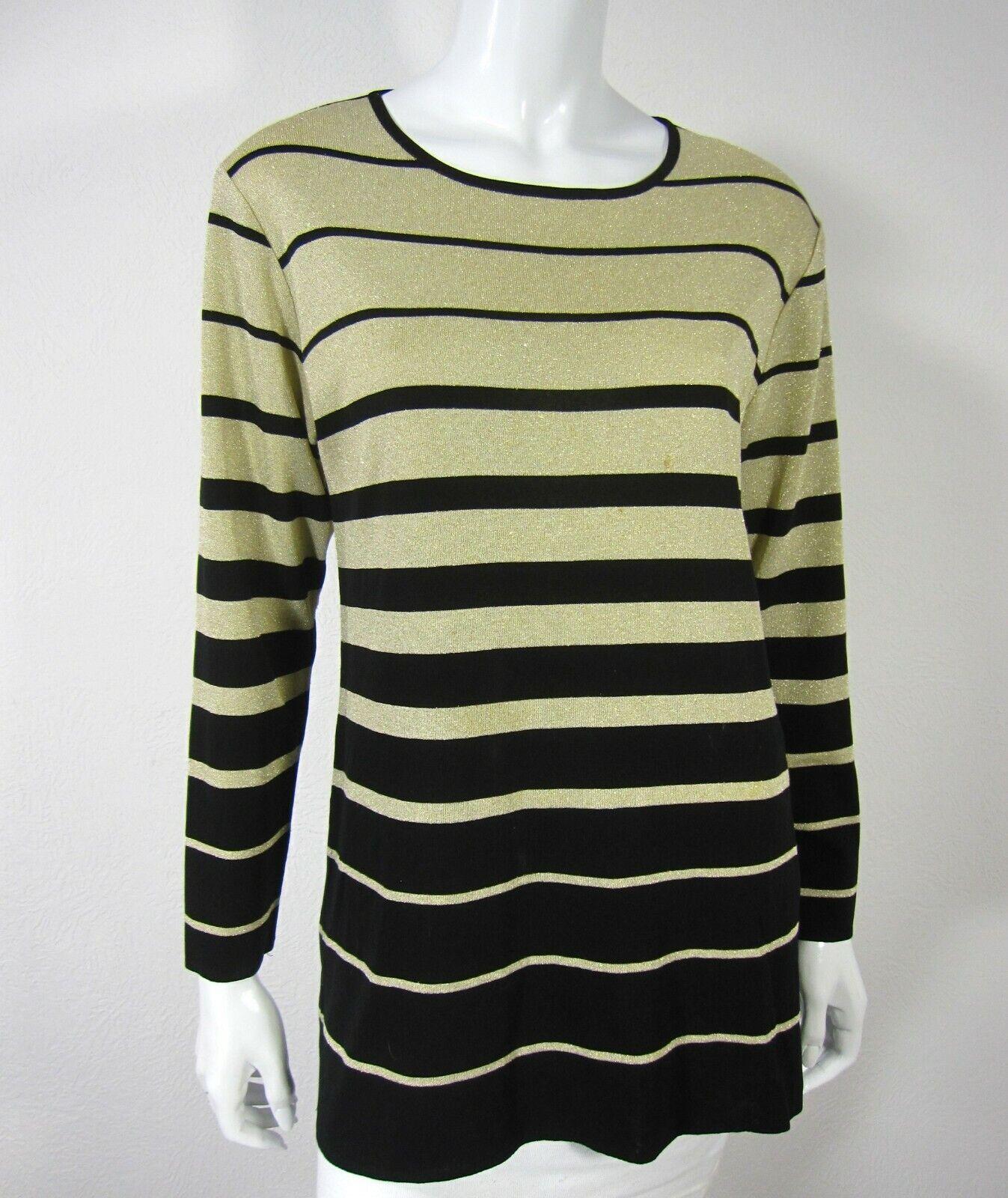 Exclusively Misook Long Sleeve Crew Neckline Blouse Sweater M Medium schwarz Gold