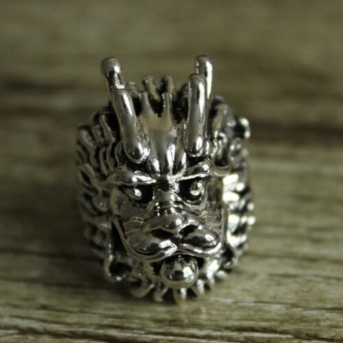 Chinese Collection Old Miao silver handmade dragon ring