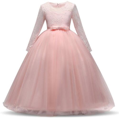 5-14Y Girl Lace Dress Long Sleeve Wedding Bridesmaid Princess Maxi Party Dresses