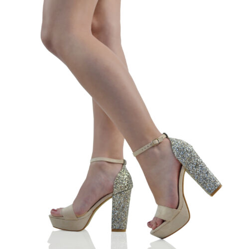 Womens Ankle Strap Glitter Heel Platform Ladies Peep Toe Party Prom Sandals Shoe