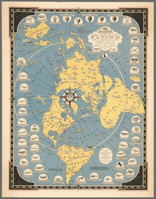 The Story Map of Flying (Flat Earth) : Fine Art Print : Map