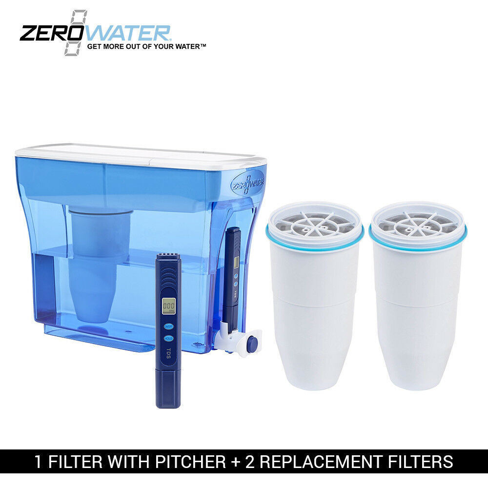 Zero Water 23-Cup Ion Exchange Water Dispenser Pitcher & 2 Replacement Filters