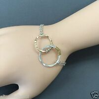 Unique Silver Finish Chain Bangle Bracelet Double Gold Silver Wired Circle