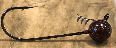 10pk 3//16oz Rootbeer Stand Up Roundball Shakey Head Powder Coated 4//0 Hook