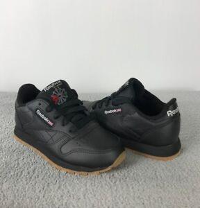 cuscús Subir Untado  Reebok Clásicas De Cuero Negro Hielo Chicos Sneakers Size 1 | eBay