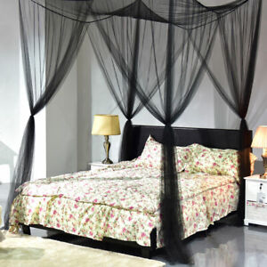 4-Corner-Post-Bed-Canopy-Mosquito-Net-Netting-Black-Full-Queen-King-Size