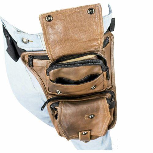Details about  /Gun Pocket Brown Leather Multi Pocket Thigh Bag Tactical Leg Bag