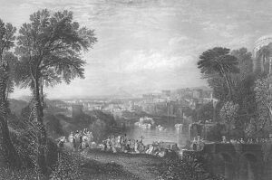 Classical-Ancient-Italy-PALACE-TEMPLES-River-1863-LANDSCAPE-Art-Print-Engraving