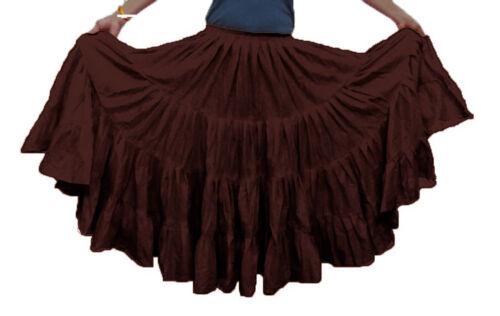 BROWN Cotton Gypsy Skirt 4 Tier 16 Yard Belly Dance Tribal Ethnic Flamenco