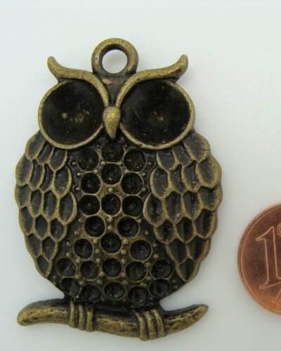 1 PENDENTIF charm perle CHOUETTE HIBOU métal BRONZE 41x27mm DIY Bijoux  MB38