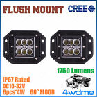 Pair 24W CREE FLUSH Mount LED Light FLOOD Beam Offroad Work 4WD Truck Trailer